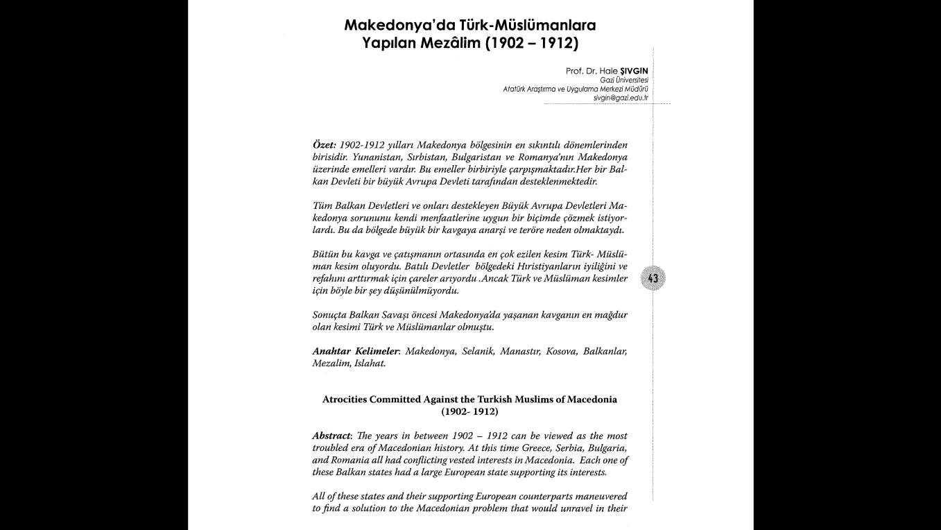 """HAFTANIN MAKALESİ: """"MAKEDONYA'DA TÜRK-MÜSLÜMANLARA YAPILAN MEZALİM (1902 -1912)"""" BAŞLIKLI MAKALE"""