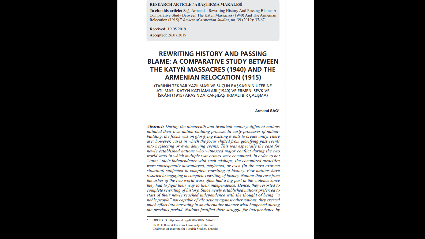 """ARTICLE OF THE WEEK: """"REWRITING HISTORY AND PASSING BLAME: A COMPARATIVE STUDY BETWEEN THE KATYŃ MASSACRES (1940) AND THE ARMENIAN RELOCATION (1915)"""""""